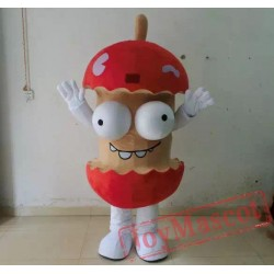 Eaten Apple Mascot Costume For Adult