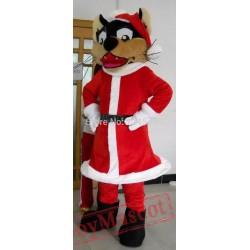Adult Santa Wolf Mascot Costume
