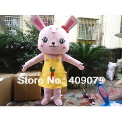 Adult Pink Rabbit Mascot Costume
