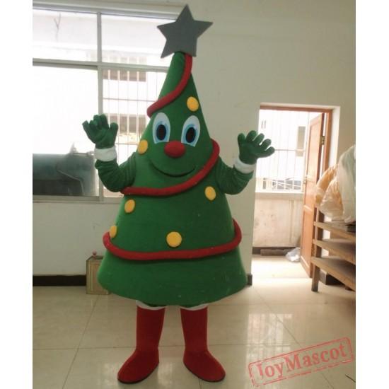 Happy Christmas Tree Mascot Costume Adult Tree Costume