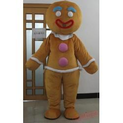 Adult Christmas Gingerbread Man Costume Mascot