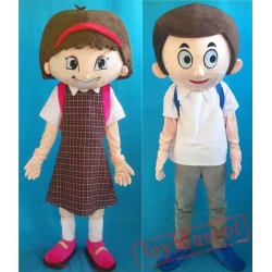 School Students Boy And Girl Mascot Costume For Adult