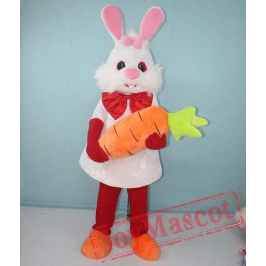 White Bunny Rabbit With Carrot Mascot Costume For Adult