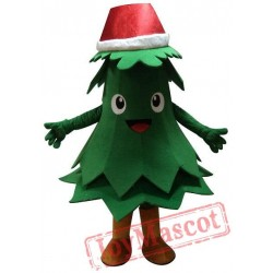 Green Christmas Tree Mascot Costume With Santa Hat For Adult