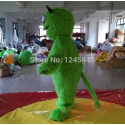 Adult Handmade Green Monster Mascot Costume With Long Tail