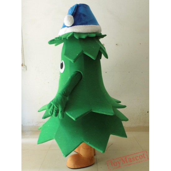 Blue Hat Tree Mascot Costume Adult Christmas Tree Costume