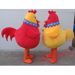 Big Red /Yellow Adult Rooster Costume Hen Chicken Mascot Costume