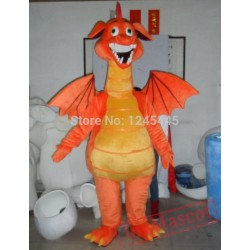 Adult Orange Dinosaur Mascot Costume