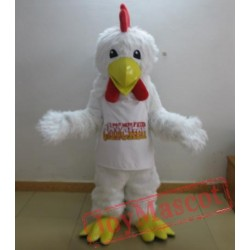 Adult White Furry Chicken Rooster Mascot Costume