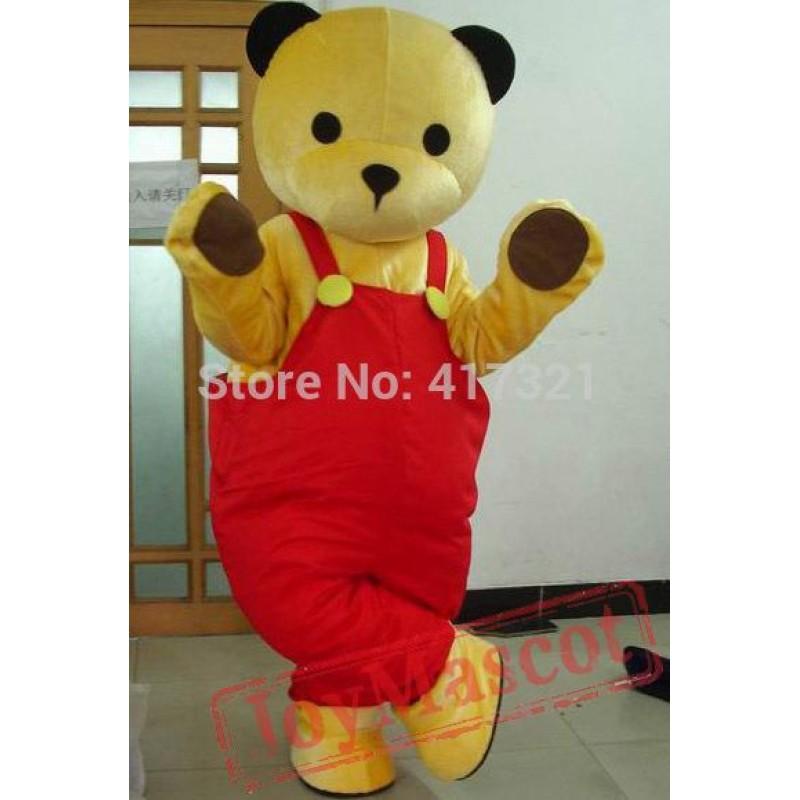 Yellow Bear Wearing Red Pants Mascot Costume Mascot Adult Bear Costume