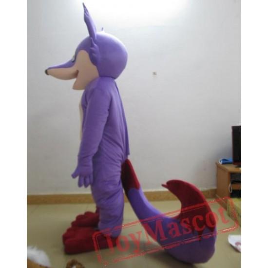 Purple Fox Mascot Costume For Adults