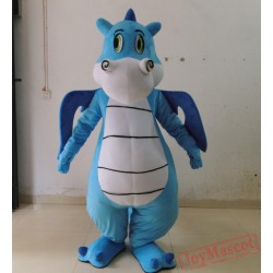 Adult Blue Dinosaur Mascot Costume With Wings And Long Tail