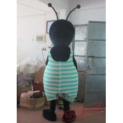 Adult Black Ant Mascot Costume In Red/Green