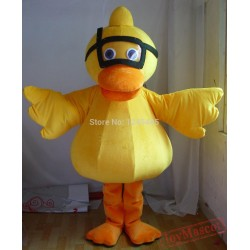 Adult Yellow Duck Mascot Costume With Diving Glasses