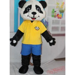 Yellow Shirt Panda Mascot Costume Adult Panda Mascot