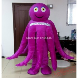 Adult Octopus Mascot Costume In Green/Blue/Purple/Yellow