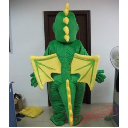 Dragon Mascot Costume With Wings In Red / Green