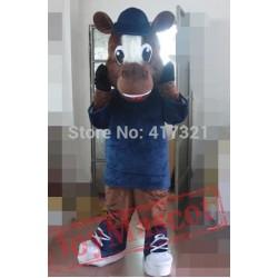 Coffee Horse Mascot Costume Adult Horse Mascot