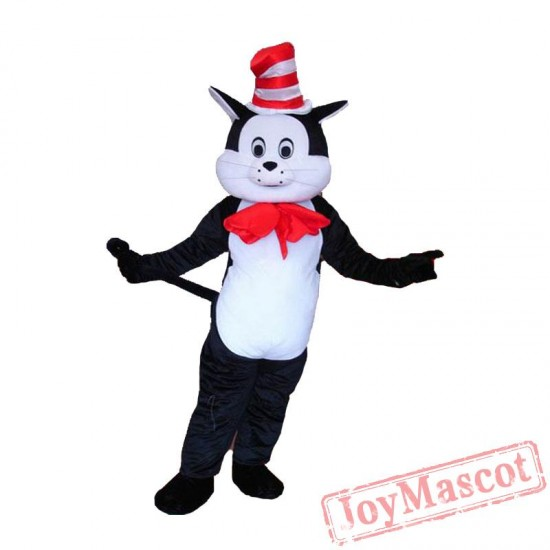 Halloween Animal Cat In The Hat Mascot Costume Black Cat Suit Fancy Dress Adult