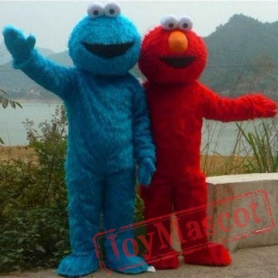 Red Elmo Blue Cookie Monster Mascot Costume Sesame Street Cartoon