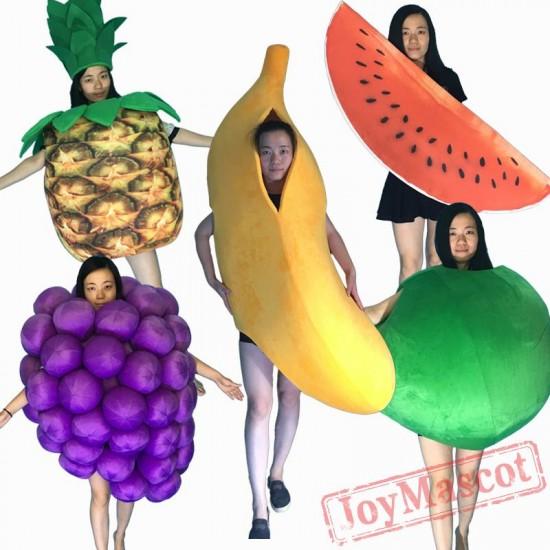 Fruit Mascot Costume(Banana Grape Watermelon Pineapple Apple) For Halloween/Christmas