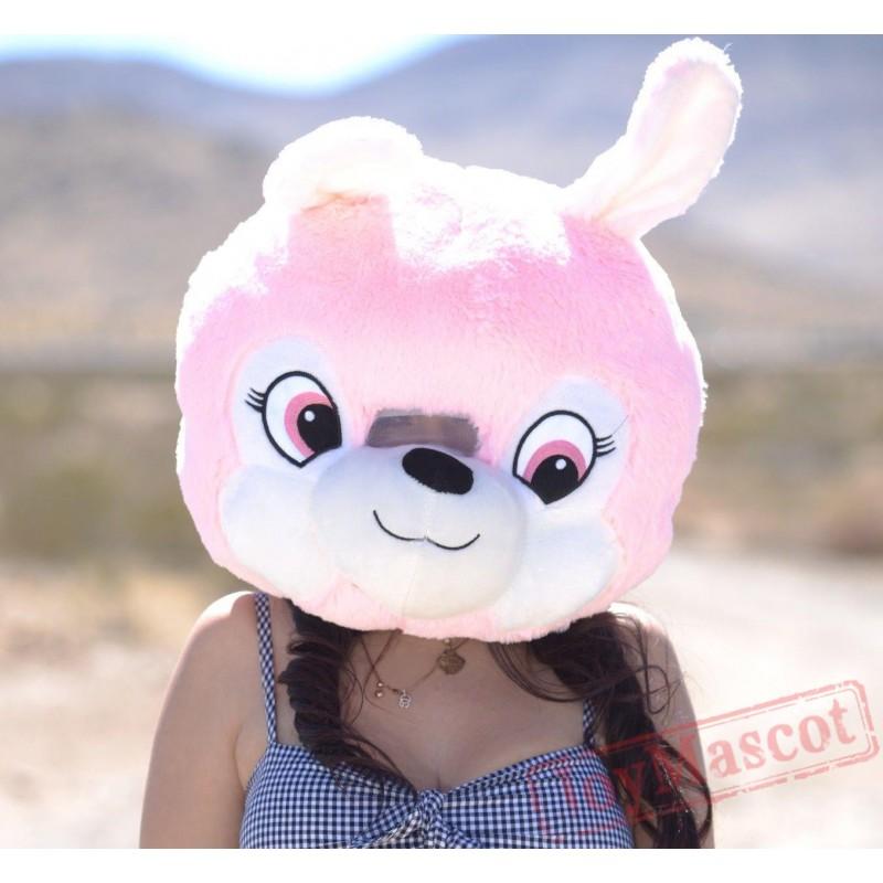 bunny plush helmet mascot head