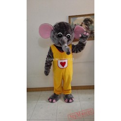 Yellow Suit Red Heart Elephant Mascot Costume