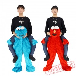 Elmo Stuffed Ride On Me Sesame Street Mascot Carry Back Costums