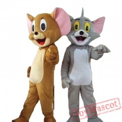 Tom Cat & Jerry Mouse Cartoon Mascot Costume