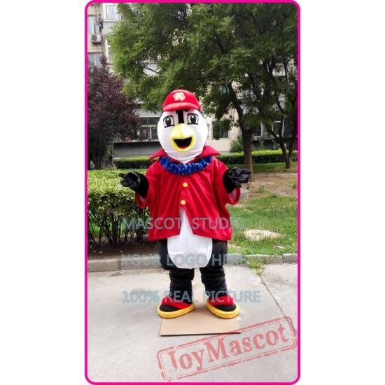 Mascot Penguin Mascot Costume With Red Shirt