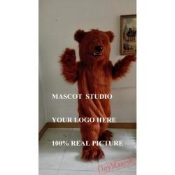 Brown Grizzly Bear Mascot Long Plush Costume Bear Cartoon