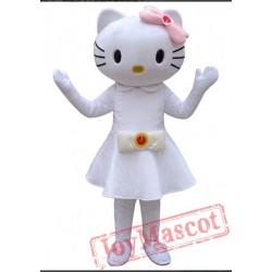 The White Hello Kitty Mascot Costume Cat Mascot On The