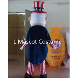 Adult American Old Man Magician Mascot Costume
