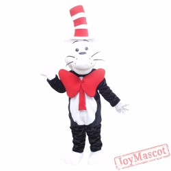 Animal Cat In The Hat Plush Adult Mascot Costume For Christmas