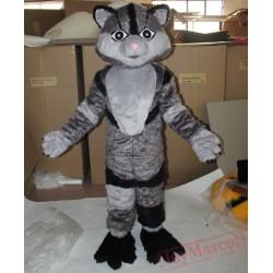 Gray Furry Cat Mascot Costume