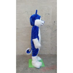 Husky Mascot Costume Deluxe Long Fur Blue
