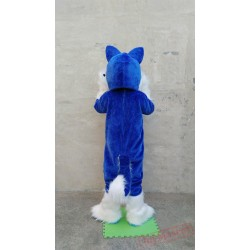 Husky Mascot Costume Deluxe Long Fur Blue