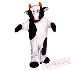 White & Black Adult's Cow Mascot Costume