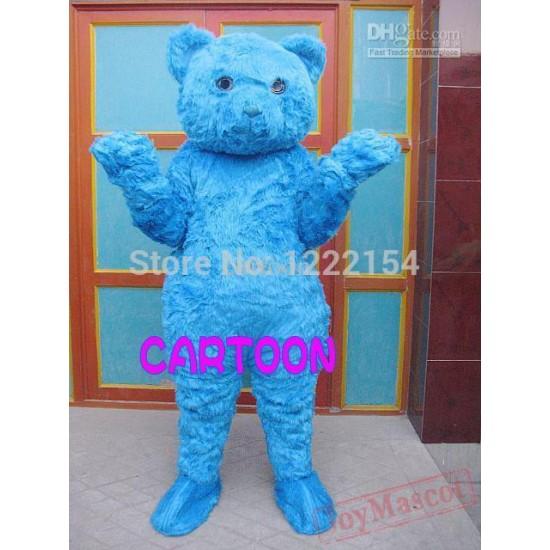 Adult Plush Blue Bear Mascot Costume