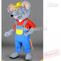 Adult Cute Happy Cartoon Toy Mascot Farmer Mouse Costumes