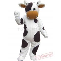 White & Black Milk Cow Mascot Costume