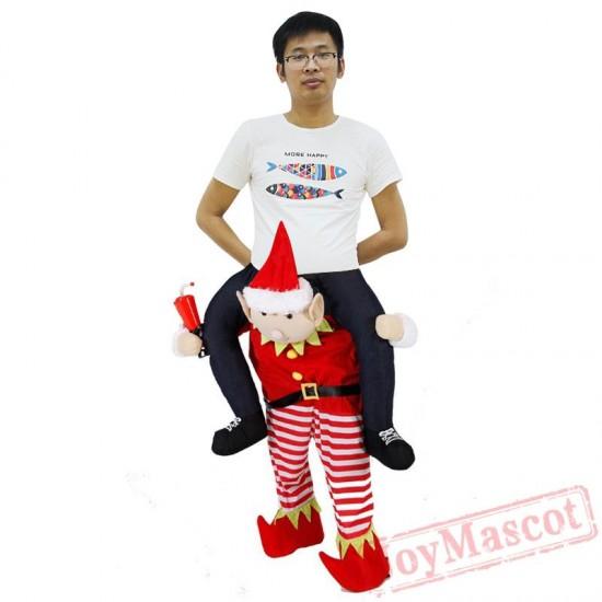 Christmas Elf Piggyback Ride On Carry Me Mascot costume