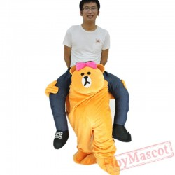 Brown Bear Piggyback Ride On Carry Me Mascot costume