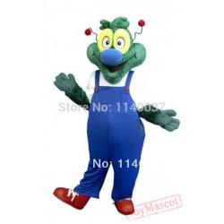 Blue Coat Green Dragon Dinosaur Adult Mascot Costume