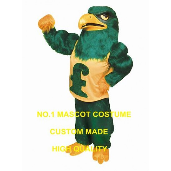 Falcon Mascot Costume Long Plush Green Falcon Eagle