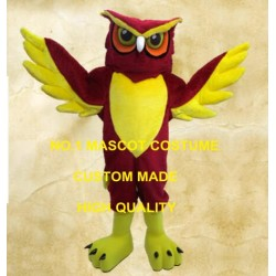 Red Night Owl Mascot Costume Adult Cartoon Character