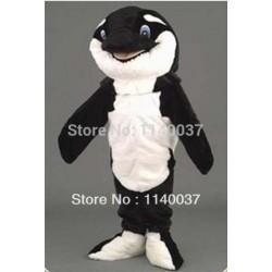 Black Orca Mascot Adult Plush Mascot Costume