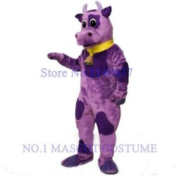 Purple Violet Bull Cow Mascot Costume With Bell & Collar