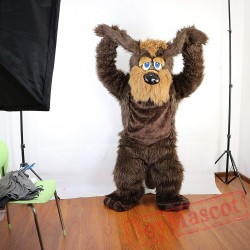 Brown Long Hairy Dog Mascot Costume Adult