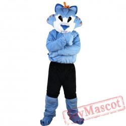 Blue Wolf Mascot Costume Adult